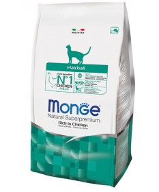 Monge Natural Superpremium Hairball per Gatto Ricco di Pollo
