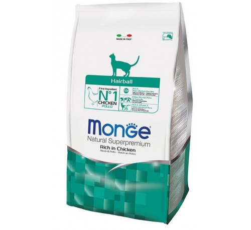 Monge Natural Superpremium Hairball Gatto Secco Ricco di Pollo