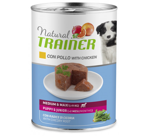 Trainer Natural Cane Umido Puppy&Junior Medium/Maxi con Pollo da 400 gr