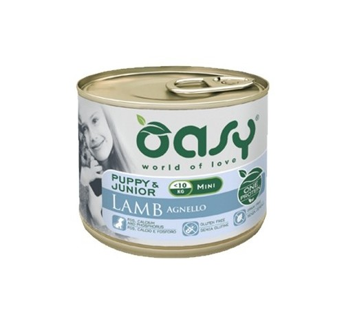 Oasy Cane Umido PUPPY & JUNIOR Mini Agnello 200 gr