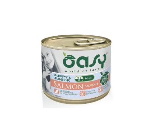 Oasy Cane Umido PUPPY & JUNIOR Mini Salmone 200 gr