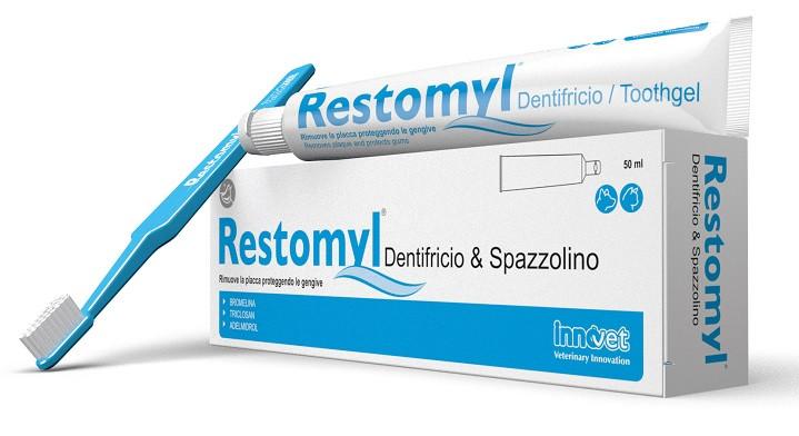 Restomyl Dentifricio e Spazzolino large da 50 ml per cani e gatti