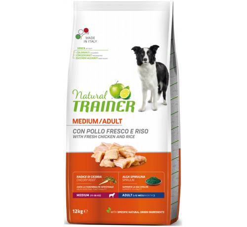 Trainer Natural per Cane Adult Medium con Pollo Fresco, Riso, Cicoria ed Alga Spirulina da 12 Kg