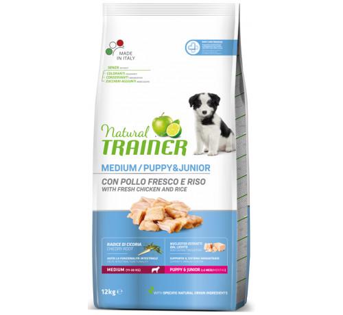 Trainer Natural per Cane Puppy & Junior Medium con Pollo da 12 Kg