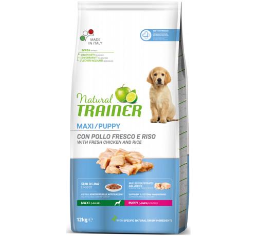 Trainer Natural per Cane Puppy Maxi con Pollo Fresco, Semi Di Lino ed Estratto Di Lievito da 12 Kg
