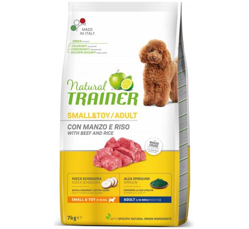 Trainer Natural per Cane Adult Mini con Manzo, Riso, Yucca e Alga Spirulina da 7 Kg