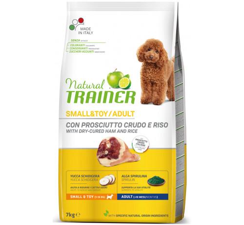 Trainer Natural per Cane Adult Mini con Prosciutto, Riso, Yucca e Alga Spirulina da 7 Kg