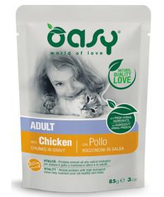 Oasy per Gatto Adult Bocconcini in salsa con Pollo da 85 g