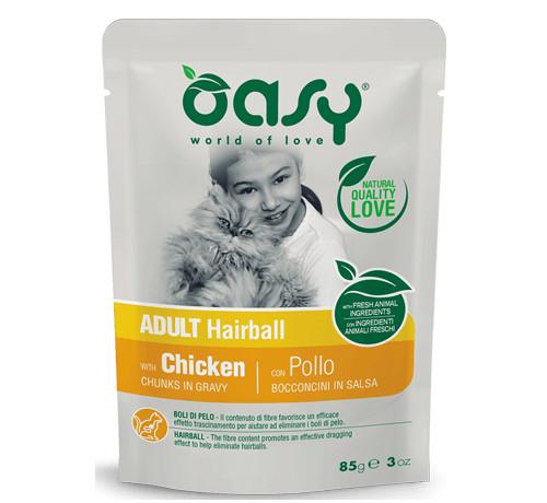 Oasy per Gatto Adult Hairball Bocconcini in salsa da 85 g