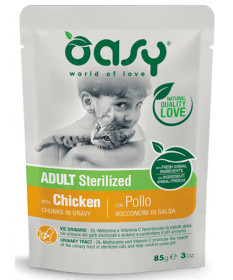 Oasy per Gatto Adult Sterilized Bocconcini in salsa con Pollo da 85 g
