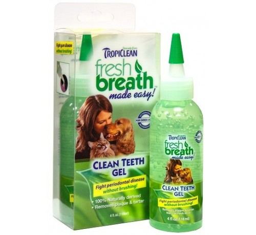 Tropiclean Fresh Breath pulizia denti in gel da 118 ml per cani e gatti