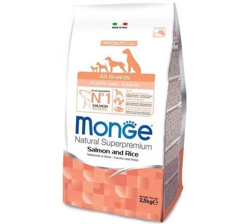 Monge cane Puppy e Junior All Breeds con Salmone e Riso