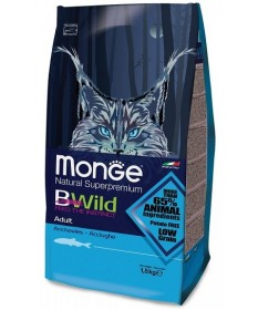 Monge Natural Superpremium BWild Low Grain per Gatti Adulti con Acciughe da 1,5 Kg