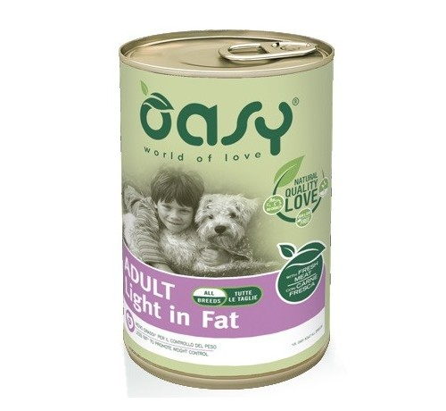 Oasy cane umido Adult Light in Fat All Breeds con Carne Fresca da 400g