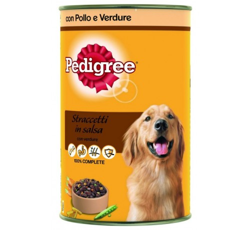 Pedigree Straccetti in Salsa Cane Umido Pollo e Verdure in Lattina da 1,2 Kg