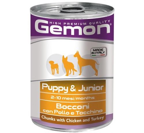 Gemon Puppy & JuniorCane Umido Bocconi con Pollo e Tacchino da 415 gr