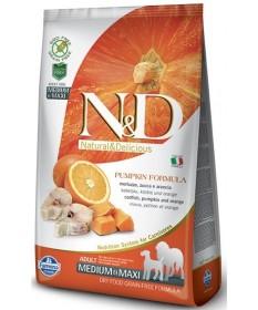Farmina N&D Grain Free Pumpkin Cane Adult Medium & Maxi con Merluzzo & Arancia da 12 Kg