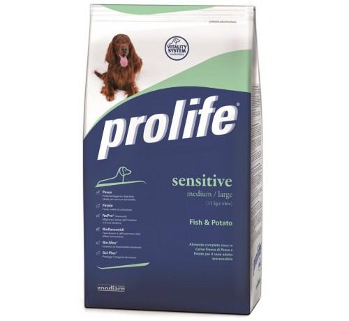 Prolife Sensitive Cane Adult Medium/Large con Pesce e Patate 12 Kg