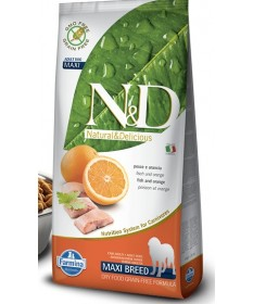 Farmina n&d adult maxi breeds con pesce e arancia da 12 kg