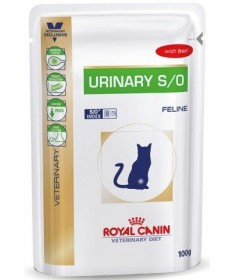 Royal canin veterinary diet urinary s/o per gatto con manzo da 100g