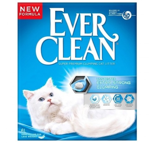 Ever Clean New Gatto Extra Strong Unscented Agglomerante
