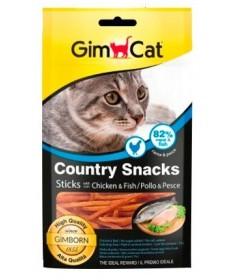GimcatCountry Snacks per Gatto Sticks con Pollo e Pesce da25 g