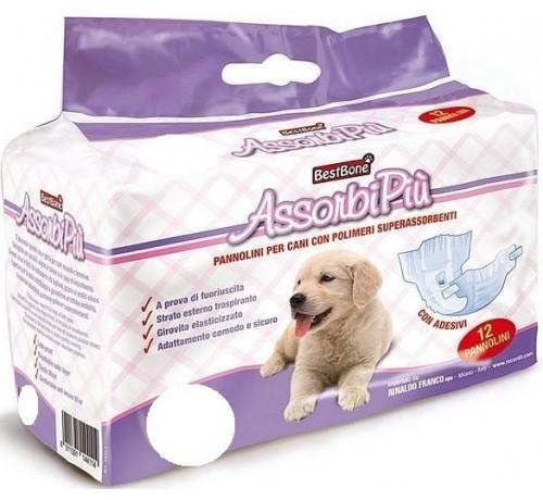 BestBone AssorbiPiù Pannolini per Cani con polimeri superassorbenti 80 cm Extra Large da 12pz