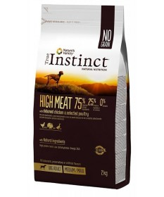 True Instinct High Meat per Cane Medium/Maxi con Pollo e Pollame da 2 Kg