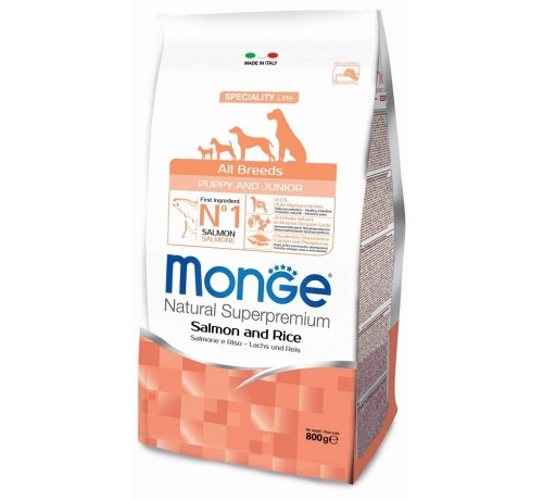 Monge cane Puppy e Junior All Breeds con Salmone e Riso