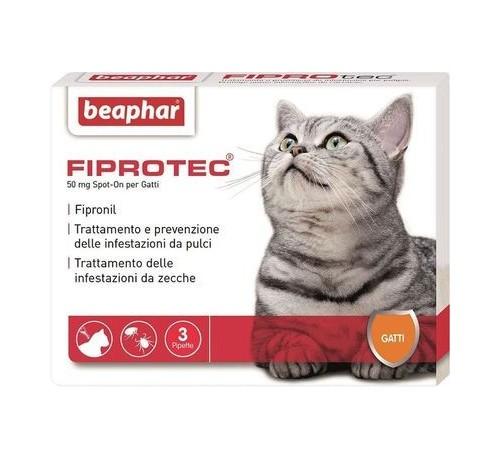 Beaphar Fiprotec Spot-On Antiparassitario per Gatti con 3 Pipette da 50mg