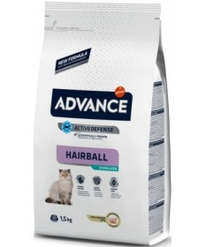 Advance Affinity Active Defense Hairball Sterilized con Tacchino e Orzo per Gatti da 1,5 kg