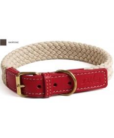 Leopet DaVinci Collare in Corda Piatta con Pelle 2,5x40 cm per Cani