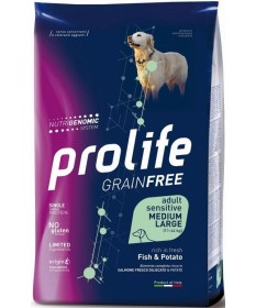 Prolife Dog Grain Free Medium/Large con Pesce e Patate per Cani da 10 kg