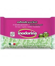 Inodorina Refresh Pocket Salviette Igienizzanti con Clorexidina per Cani e Gatti 15 pz