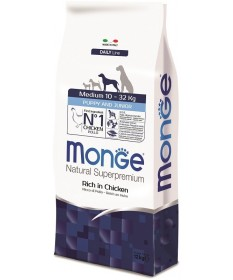 Monge Natural Superpremium Puppy & Junior Medium Cane Secco Ricco di Pollo