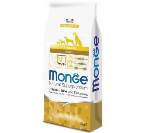 Monge Natural Superpremium Adult All Breeds Cane Secco Pollo Riso e Patate