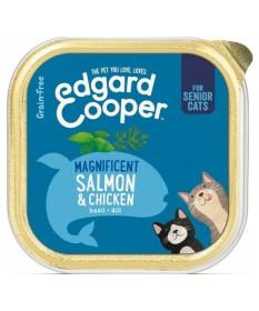 Edgard&Cooper Grain FreeSeniorcon Salmone, Pollo, Basilico, Aneto e Mirtilli perGatti da 85 gr