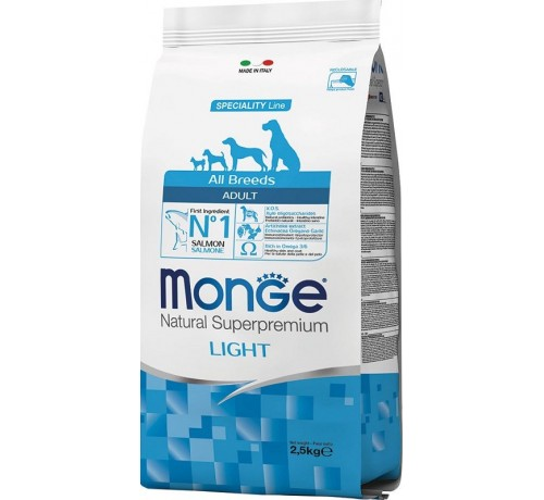 Monge Natural Superpremium Light per Cane Adult All Breeds con Salmone e Riso