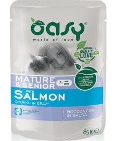 Oasy per Gatto Mature & Senior con Bocconcini di Salmone in Salsa da 85 gr