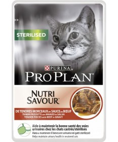Pro Plan Nutrisavour per Gatto Sterilised con Manzo in salsa da 85gr