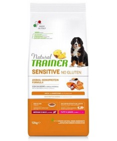 Natural Trainer Sensitive No Gluten per Cani Puppy Medium/Maxi con Salmone da 12 Kg