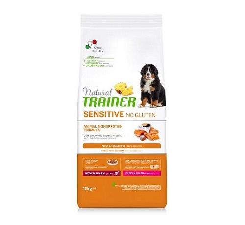 Natural Trainer Sensitive No Gluten per Cani Puppy Medium/Maxi con Salmone da 12 Kg