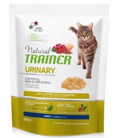 Natural Trainer Urinary per Gatto Adulto con Pollo, Semi di Lino e Uova da 300g