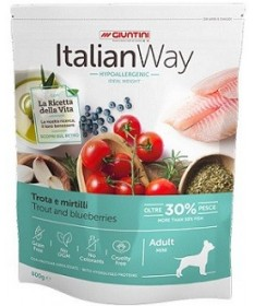 Italian Way Hypoallergenic Ideal Weight per Cani Adult Mini con Trota e Mirtilli da 1,5 Kg