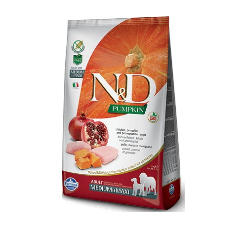Farmina N&D Grain Free Pumpkin Cane Adult Medium & Maxi con Pollo Zucca e Melograno da 12 Kg