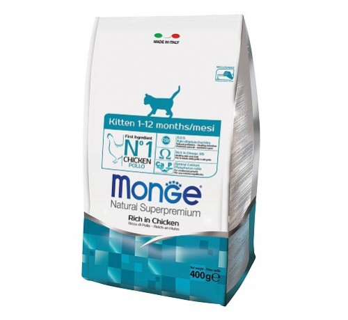 Monge Natural Superpremium Kitten Gatto Secco Ricco di Pollo