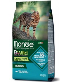 Monge Natural Superpremium BWild Grain Free per Gatti Sterilizzati con Tonno e Piselli da 1,5 Kg