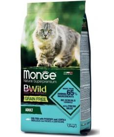 Monge Natural Superpremium BWild Grain Free per Gatti Adult con Merluzzo, Patate e Lenticchie da 1,5 Kg