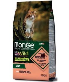 Monge Natural Superpremium BWild Grain Free per Gatti Adulti con Salmone e Piselli da 1,5 Kg