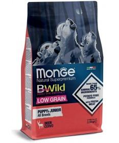 Monge Natural Superpremium BWild Low Grain per Cani Puppy&Junior All Breeds con Cervo da 2,5 Kg